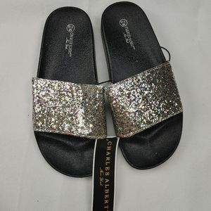 NWT Charles Albert New York Rainbow Glitter Slides